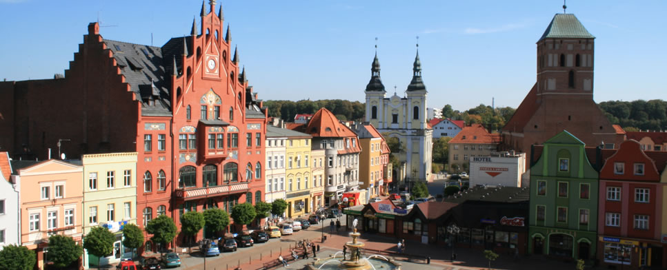 The Old Market Square in Chojnice – a View to the Town Hall, the Annunciation Church and the Basilica